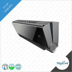 Split unit airco systeem de Maxicool Vertu Plus 3D inverter 3,5 kW Black mirror VMDR 12 VMD-12HDI-I VMD-12HDI-O binnen unit