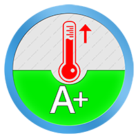 A+ Energielabel voor het verwarmend vermogen SCOP