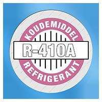 Airco is afgevuld met koudemiddel R-410A